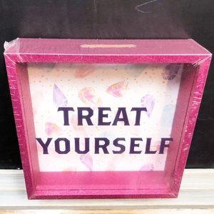 Pink Glitter Treat Yourself Mini Bank Saving Box